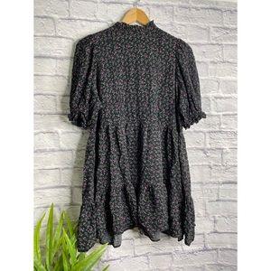 Zara Black Floral 3/4 Sleeve Mini Dress Size S